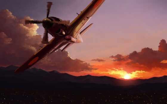 raiden, рисованный, рассвет, авиация, закат, plane, истребитель