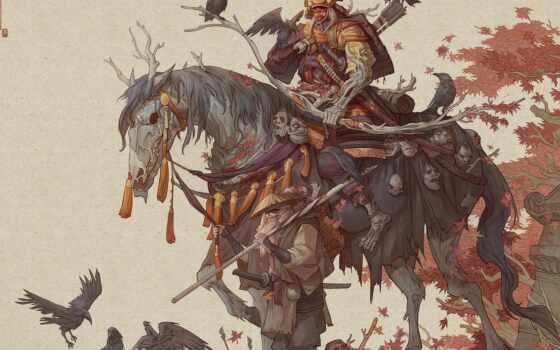 самурай, рисованный, art, lu, digital, мужчина, тварь, доспех, воин