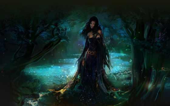 фэнтези, обои, лес, девушка, арт, вода, капли, обо