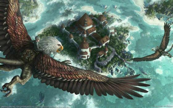 kerem, beyit, фентези, город, полет, грифон, всадник, fantasy, warcraft, art, griffin, castle, griffon,