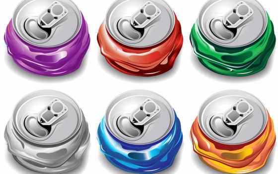 банки, серый, оранжевый, blue, coca, фиолетовый, кокс, зелёный, алюминиевые, вектор, vectors,
