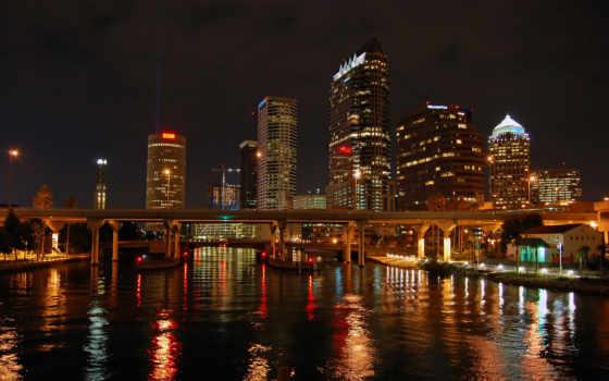 tampa, город, ночь, bay, downtown, nights, красивые,