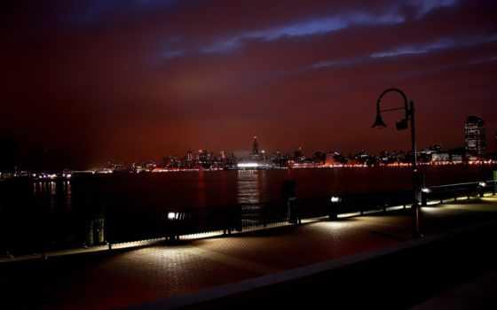 ночь, город, нью