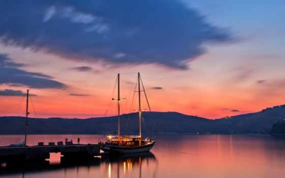 яхта, закат, seascape