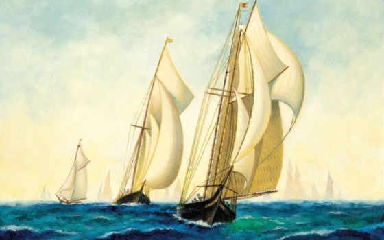 art, флот, живопись, корабли, бой, планшетный, телефон, море, squadron, парусников, smartphone,
