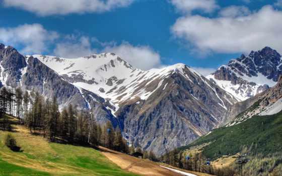 горы, landscape, снег, просмотров, лес, взгляд, ливиньо, пейзажи -,