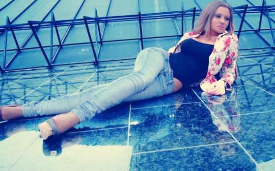 девушка, джинсах, оригинал, mix, uzanmaq, ложь, qz, лежит, тоне,