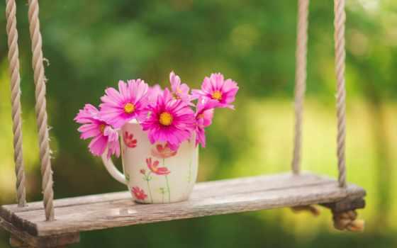 cvety, крючком, вязание, весна, зелёный, качели,
