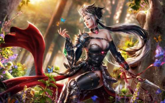 fantasy, воин, women, art, бабочка,