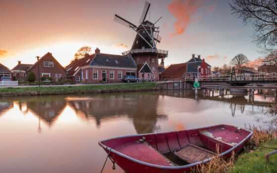 ветряк, mill, гронинген, мост, природа, нидерланды, компьютер, устройство, smartphone