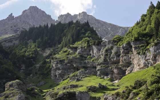 горы, лес, скалы, деревья, природа, замок, мост, небо, вид, зелёный, kami,
