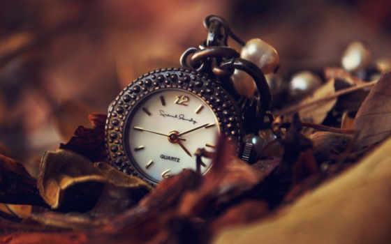 ретро часы в листьях