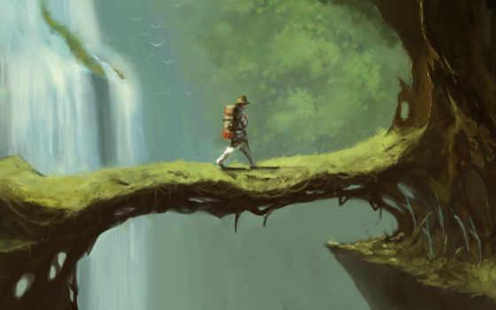 путник, горы, дорога, trail, мужчина, лес, свет, водопад, fantasy, шляпа,