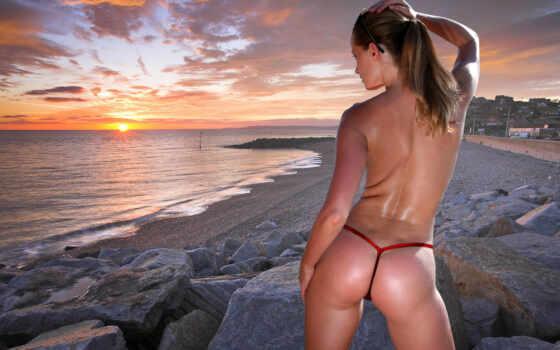 девушка, бикини, море, пляж, берег, песок, попка, микро стринги, стринги,