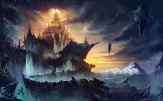 fantastic, landscape, world, art, горы, скалы,