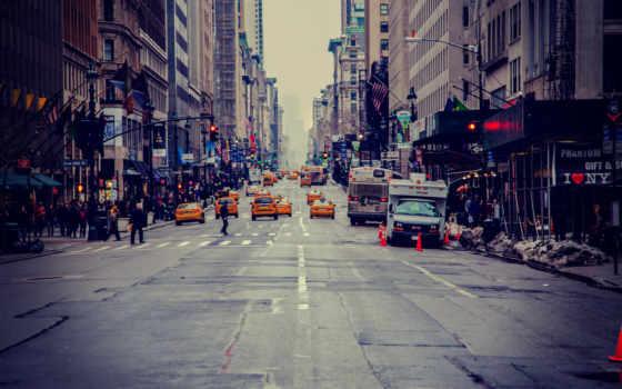 нью, new, город, york, улица, сша, taxi, небоскребы, usa,