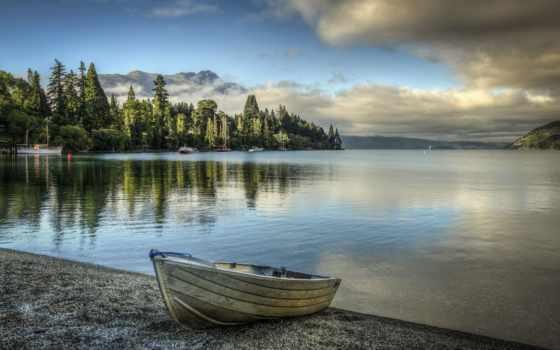 лодка, озеро, берег, природа, trees, лес, горы, oblaka, озера, берегу,