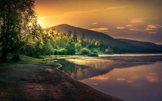 озеро, рассвет, trees, лес, горы, утро, sun, природы, берег, landscape,