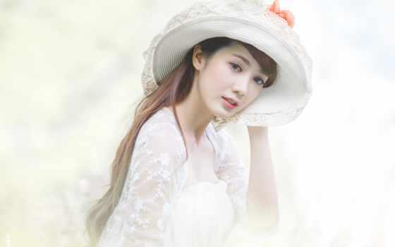 девушка, шляпа, asian, cute, красавица