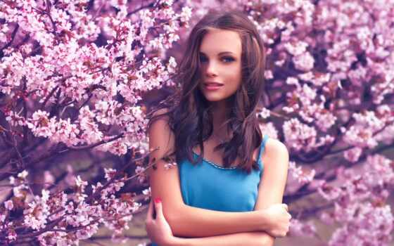 дерево, девушка, фон, bloom, новинка, окно, apple, сборка, dream, изображение, loud
