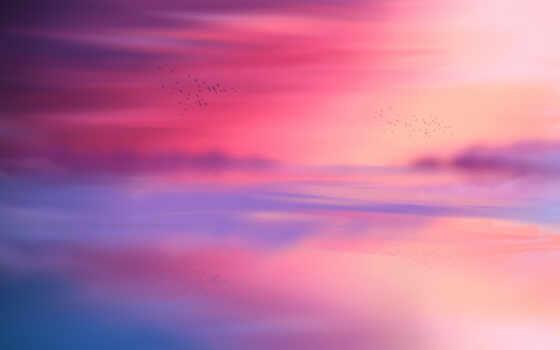 розовый, blue, краска, abstract, небо, горизонт, отражение, red, закат, even