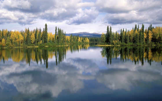 природа, water, красивые, пейзажи, природы, normal, trees, forest, lake, canada, clouds, reflection,