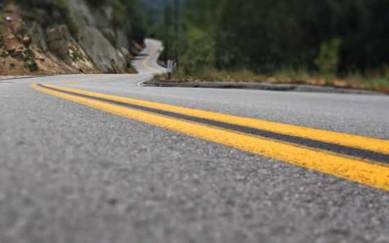 дорога, горах, метки,