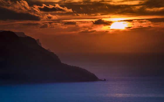 закат, ocean, free
