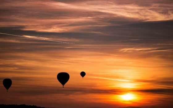 небо, оранжевый, закат, balloons, con, los, para,