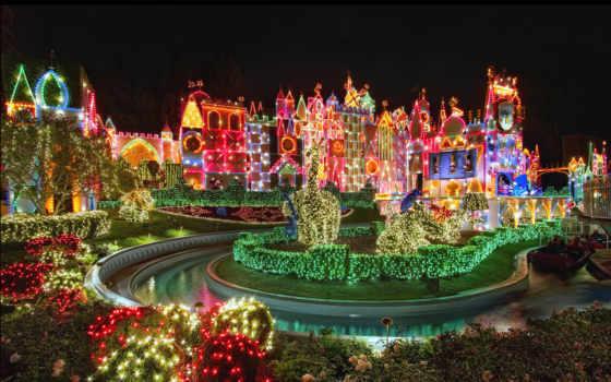 красиво, яркий, небо, весело, праздник, christmas, disneyland, цветы, disney, нояб,