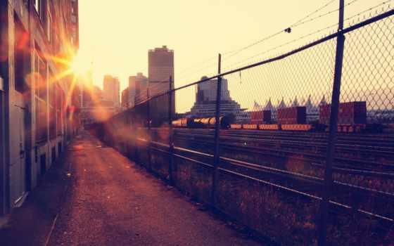 утро, sun, город, дома, здания, музыка, утра, full, закат,