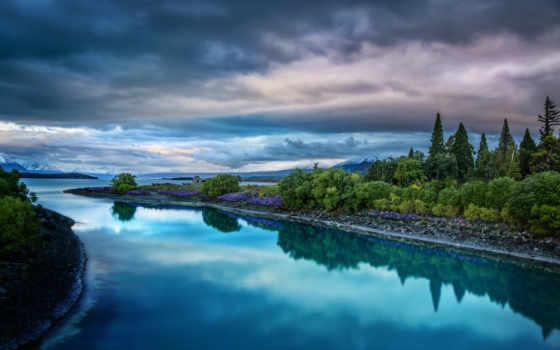 река, небо, природа, reki, oblaka, горы, берега, landscape, берег, разделе, красивая,