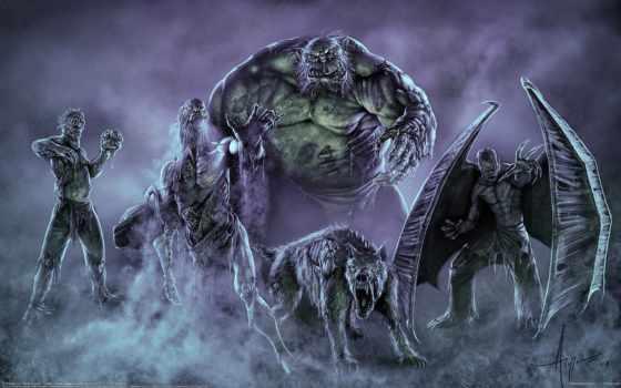 монстры, нежить, fantasy, уроды, смотрите, широкоформатные, твари, art, пришельцы, доспех,