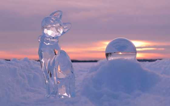 лед, закате, winter, фигуры, скульптуры, праздником, льда, ледяные, снежной,