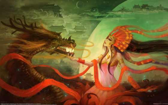 дракон, девушка, art, здания, китаянка, перья, рога, mingsong, jia, картинка, горы,