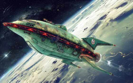 planet, express, futurama, корабль, realistic, spaceship
