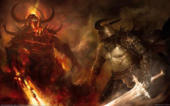 битва, схватка, демон, воин, мечи, огонь, демонов, фэнтези,