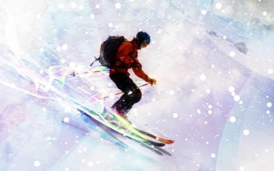 лыжник, снег, лыжи, горы, спуск, спорт,