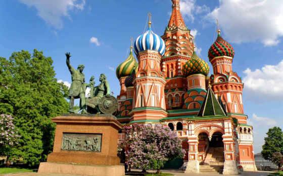 москва, город, василия, блаженного, cathedral, храм, winter,