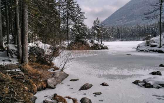 озеро, winter, горы
