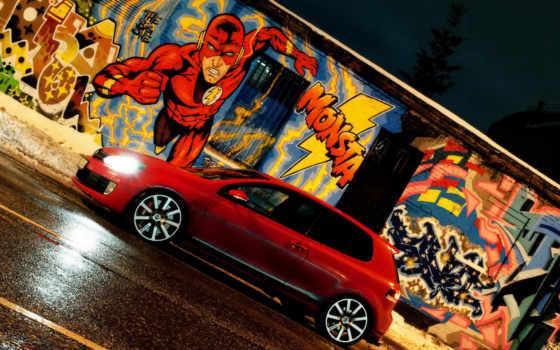 graffiti, город, стена, машина, comics, рисунок, car,