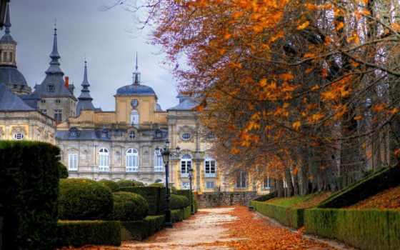 осень, дворец, san, royal, ildefonso, granja,