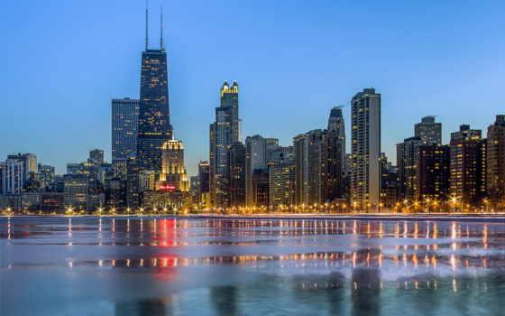 chicago, вечер, город, небоскребы, огни, winter, сша, панорамма, широкоформатные,