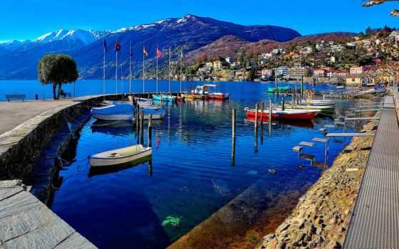швейцария, ascona, landscape, озеро, swiss, небо, аскона, набережная,