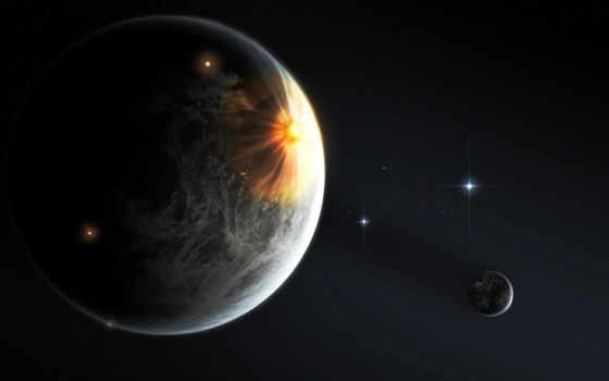 cosmos, planet, звезды, спутник, свет, taustapildid,