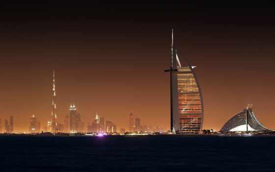 dubai, город, ночь, свет, hotel, sail, небоскрёба