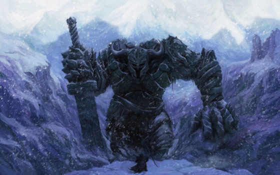 снег, великан