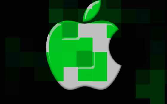 apple, cubes, logo, desktop, mac, green