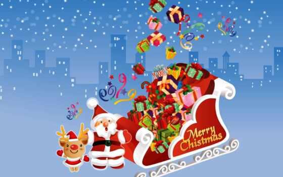 christmas, merry, desktop, santa, with,