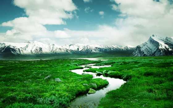 зелёный, природа, desktop, долина, снег, зелёная, full,